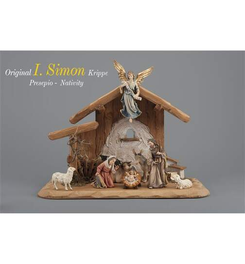 Set 8 figurines with stable Holy Night - Orig. SIMON Nativity