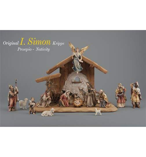 Set 15 figurines with stable Holy Night - Orig. SIMON Nativity