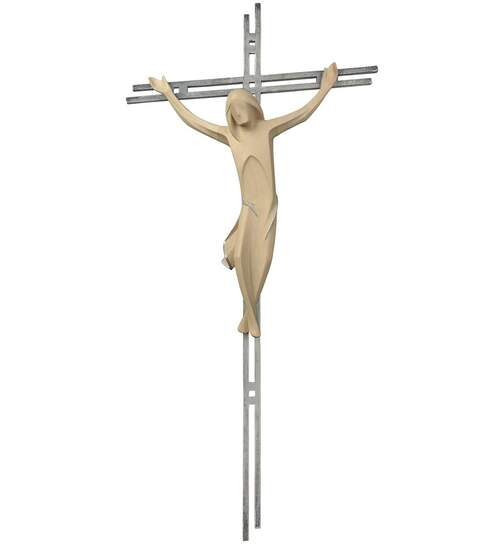 Crucifix, with a double bar made of steel