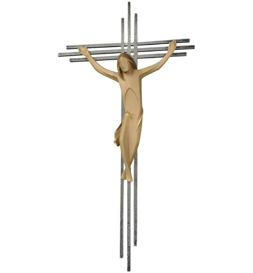 Crucifix, with a triple bar in stainless ste