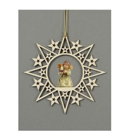 Star with stars-Bell angel with candle-carrier