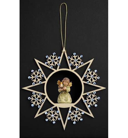 Star w.snowflakes-Bell angel w.candle-carrier