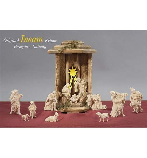 Lantern Cometstar con 13 Insam nativity figurines, light and transformer - Orig. INSAM Nativity