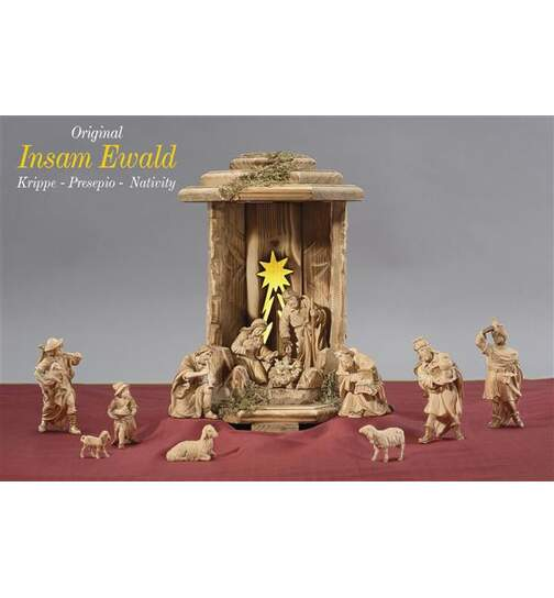 Lantern Cometstar with 13 Ewald nativity figurines, light and transformer - Orig. INSAM EWALD Nativity