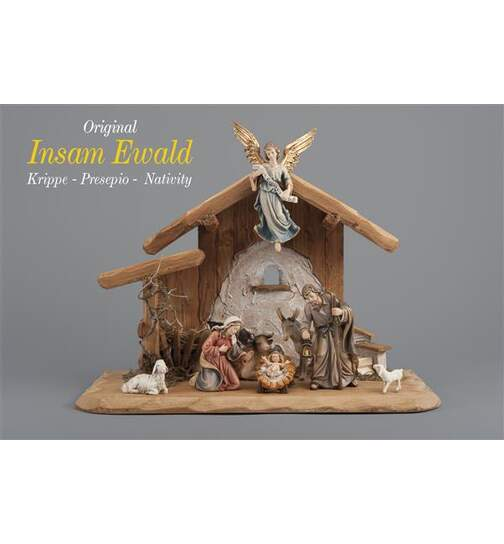 Set 8 figurines with stable Holy Night - Orig. INSAM Nativity