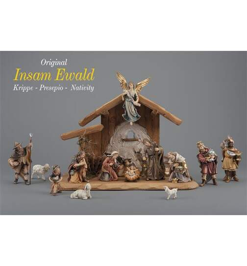 Set 15 figurines with stable Holy Night - Orig. INSAM Nativity