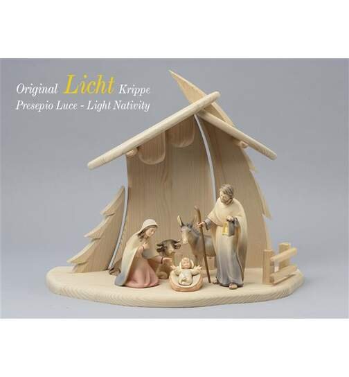 Stable Christmastree with 5 figurines Light nativity - Orig. LIGHT Nativity